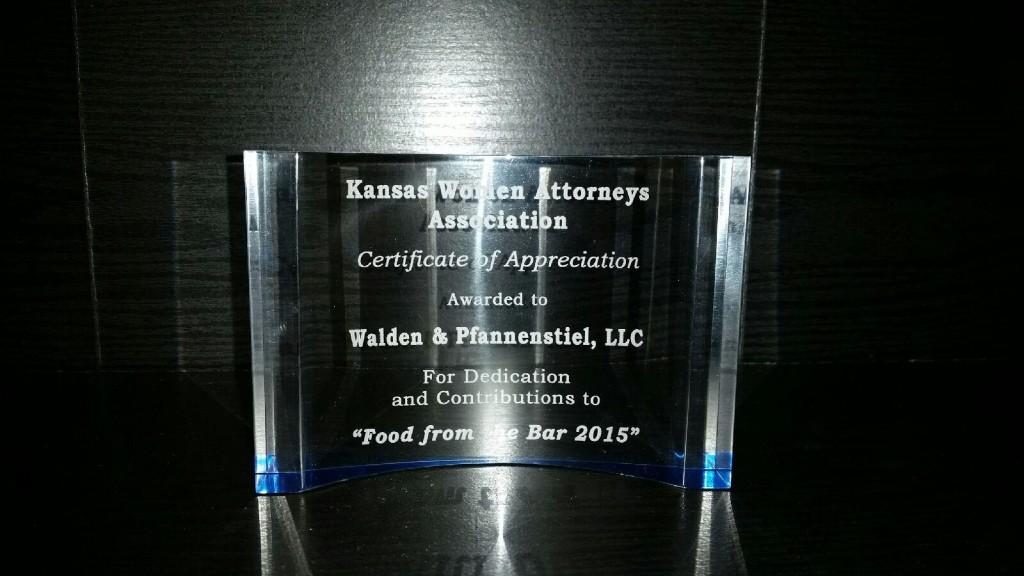 KWAA Food from Bar Certificate of Appreciation